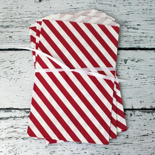 Diagonal Stripe Paper Favor Bags Red 2