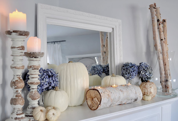 white pumpkins on mantel 1