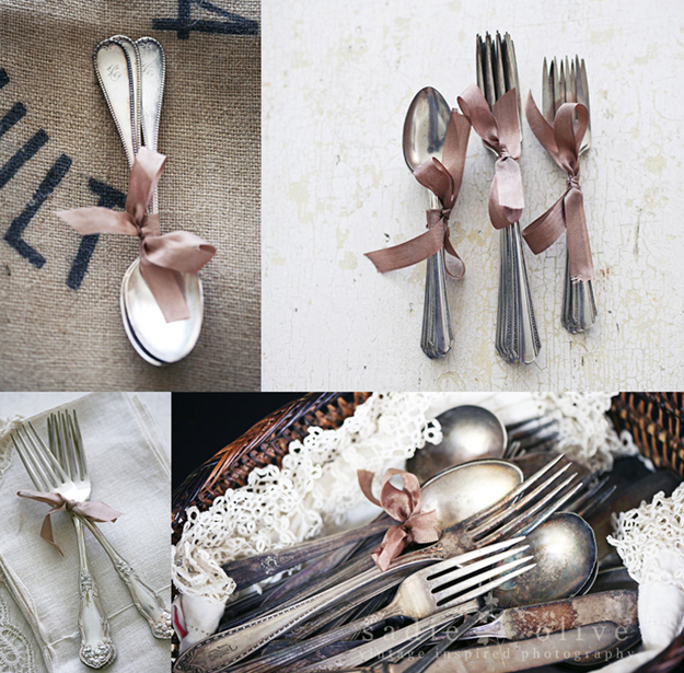 vintage-silverware-tied-with-ribbon
